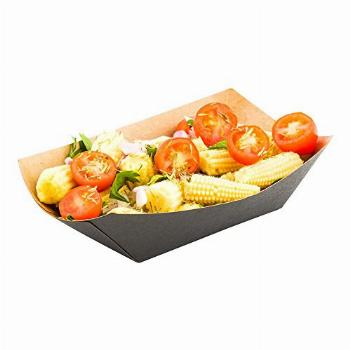 3.3-inch Disposable Paper Food Tray - Black with Kraft Brown