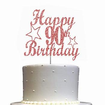 90 Birthday Rose Gold Glitter Cake Topper, 90th Party