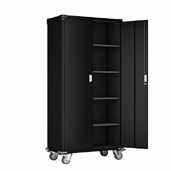 AOBABO 72 Tall Metal Storage Cabinet with Wheels, Black