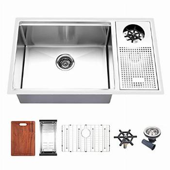 ARAUSK Kitchen Sink with Delta Faucet Glass Rinser,
