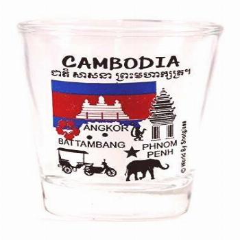 Cambodia Landmarks and Icons Collage Shot Glass