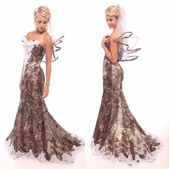 Camo Wedding Dresses Vintage Sweetheart Lace Mermaid Camo Bridal Gowns Backless Sweep Train Camoufl