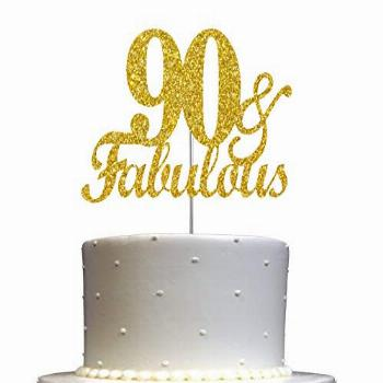 Fabulous & 90 Cake Topper Gold Glitter, 90th Birthday Party