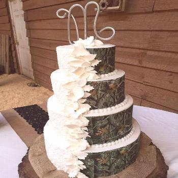 His and Hers Camo and Traditional Wedding Cake,