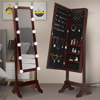 Hollywood Style Jewelry Cabinet w/Full-Length Mirror,Large