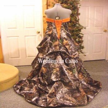 New Ball Gown Camo Wedding Dresses Camouflage Orange Lace Up Bridal Gowns Custom...,  New Ball Gown