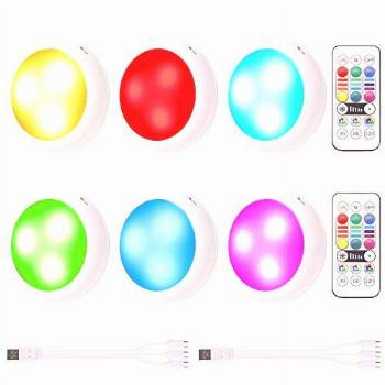 Rechargeable Puck Lights, OxyLED RGB Color Changing LED
