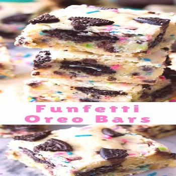 Soft, chewy, Funfetti Oreo Bars! These buttery cake batter flavored bars are jam-packed with mini c