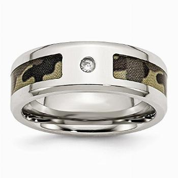 Solid Stainless Steel CZ Cubic Zirconia Printed Brown Camo