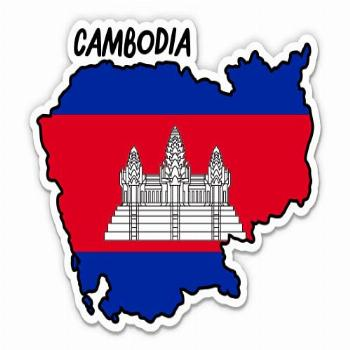 Squiddy Cambodia Map with Flag - Vinyl Sticker Decal for