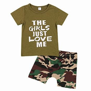 Summer Toddler Baby Boys Camouflage Clothes Short Sleeve