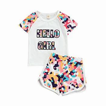 Toddler Baby Girl Camo Clothes Summer Outfits Short Sleeve