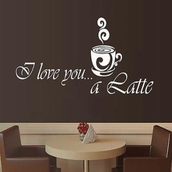 Wall Vinyl Sticker Decal Quote Coffee Latte Kitchen Cafe