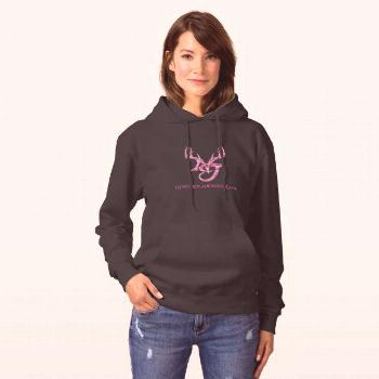 Women's hoodie with pink logo on front