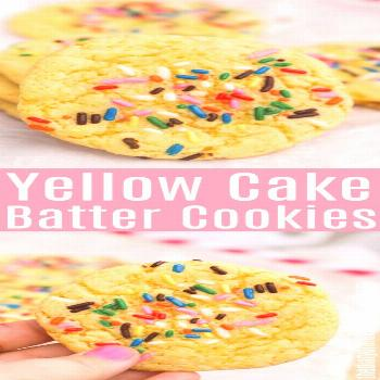 Yellow Cake Batter Cookies These Yellow Cake Batter Cookies are made with a box of cake mix plus a