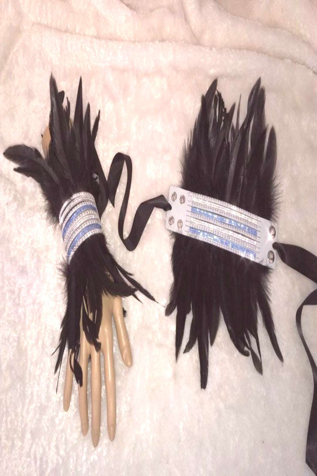 Baby Blue And Black Crystal Feather Cuff Bracelets. Burlesque Gothic Rockstar Cabaret Costume Acces