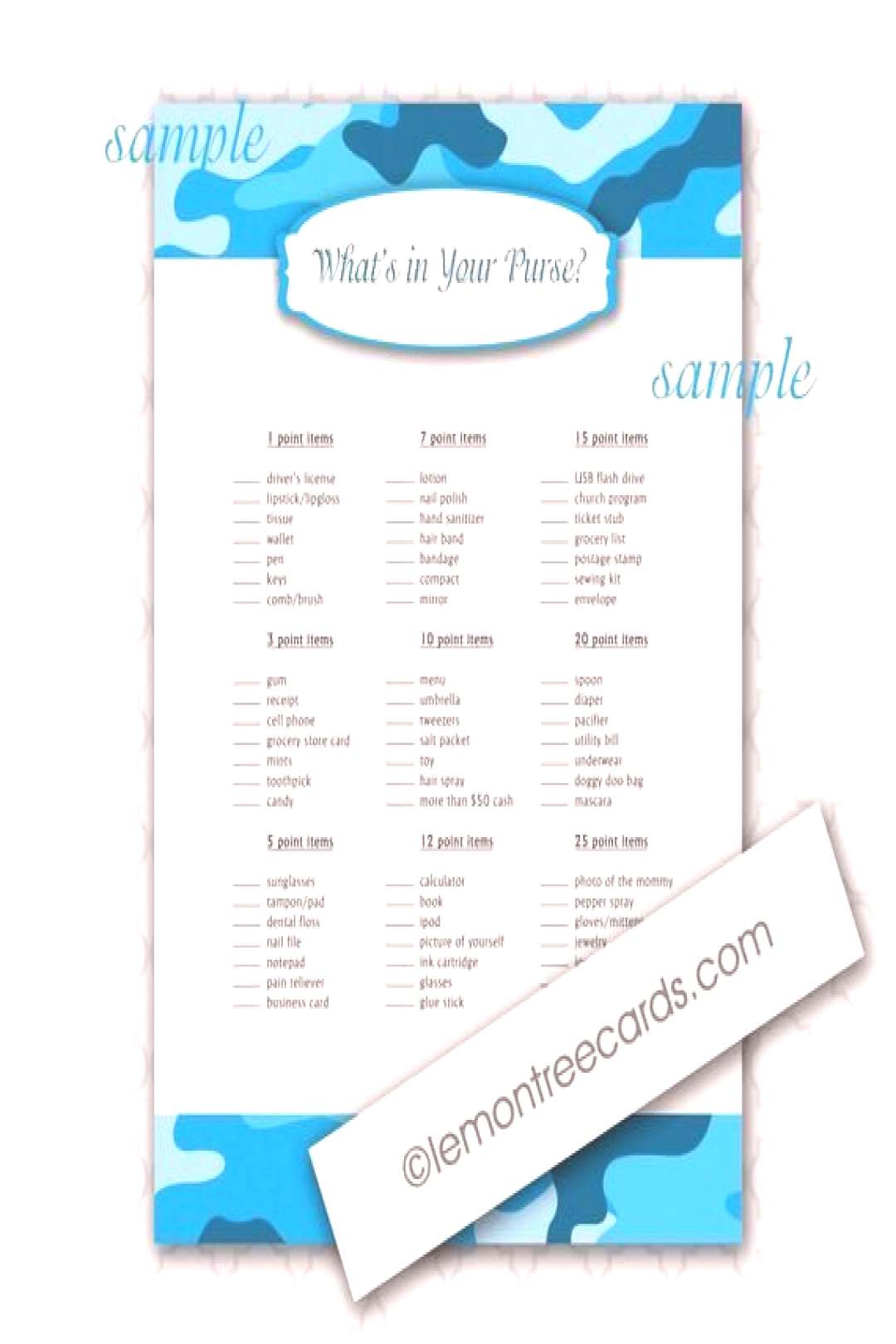 Blue Camouflage Whats in Your Purse Shower Game / INSTANT download / blue camo, boy baby shower ga
