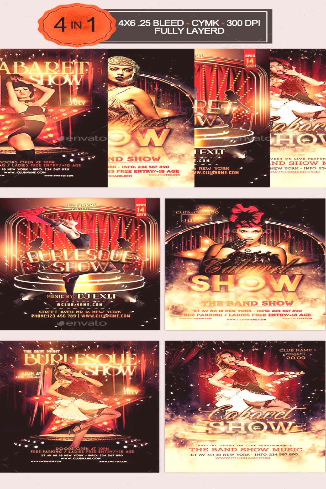 Burlesque and Cabaret Flyer Bundle. Professional club party flyer template.