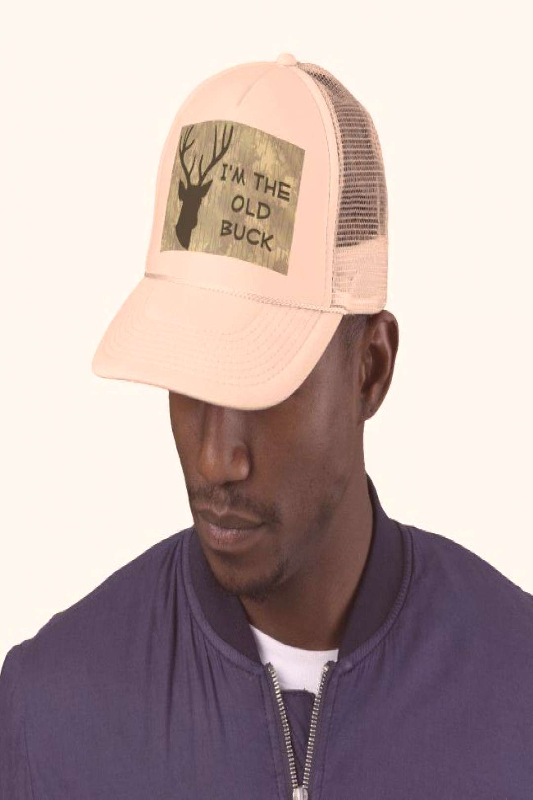 Hunting Old Buck Antler Camo Birthday Party Trucker Hat ,