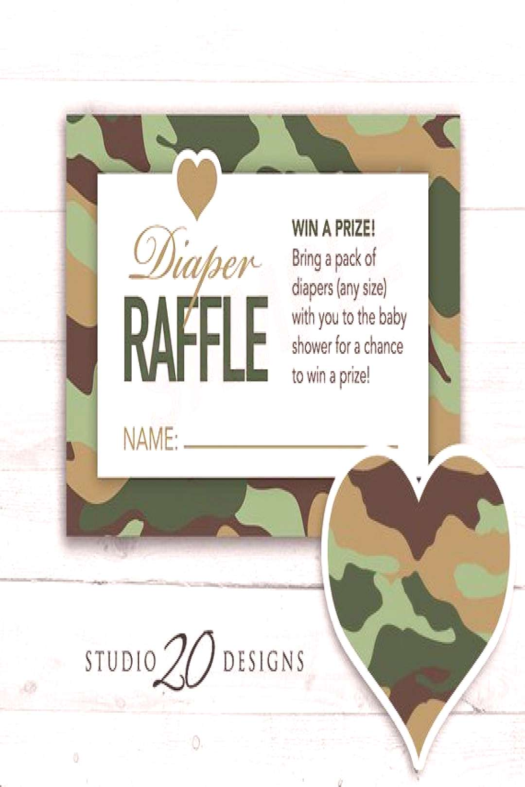 Instant Download Green Camo Baby Shower Games, Printable Camouflage Diaper Raffle Cards, Baby Boy,