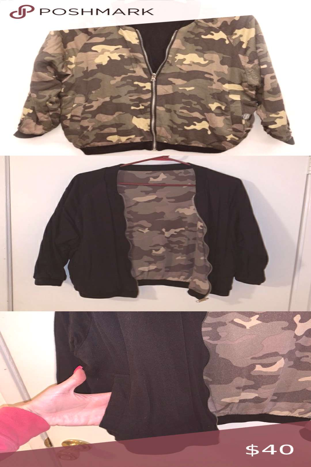 Kendall and Kylie Reversible Bomber Jacket 3/4 sleeves, reversible camo to black...#black