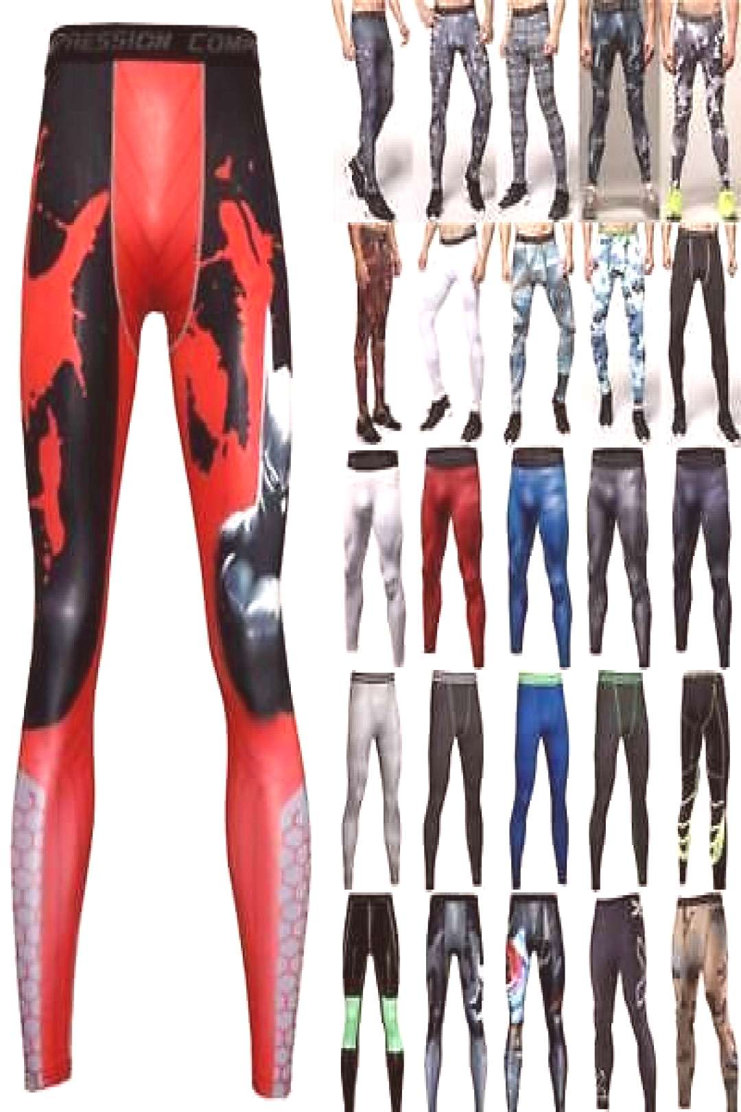 Mens Compression Pants Workout Sports Gym Long Tights Spandex Camo Printed US