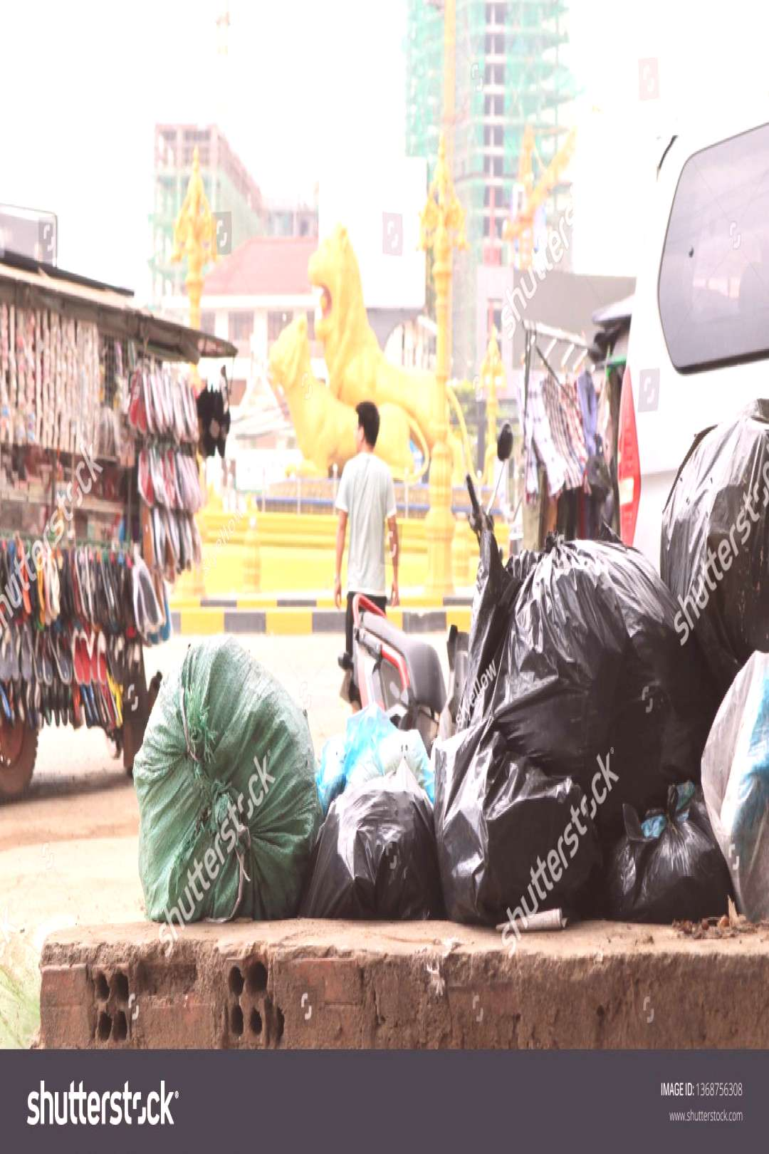 SIHANOUKVILLE, CAMBODIA. 2019 April 1st. Garbage Problems in Sihanoukville City ,
