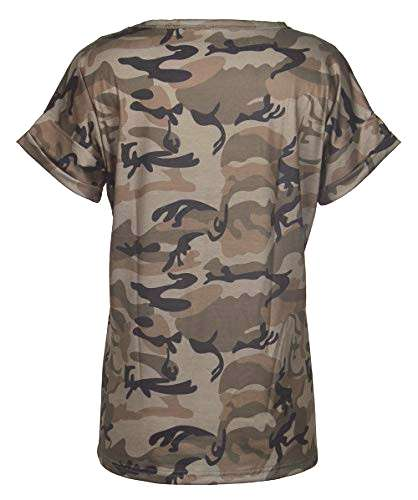 Smile Fish Women Camouflage Print V-Neck Casual T-Shirt