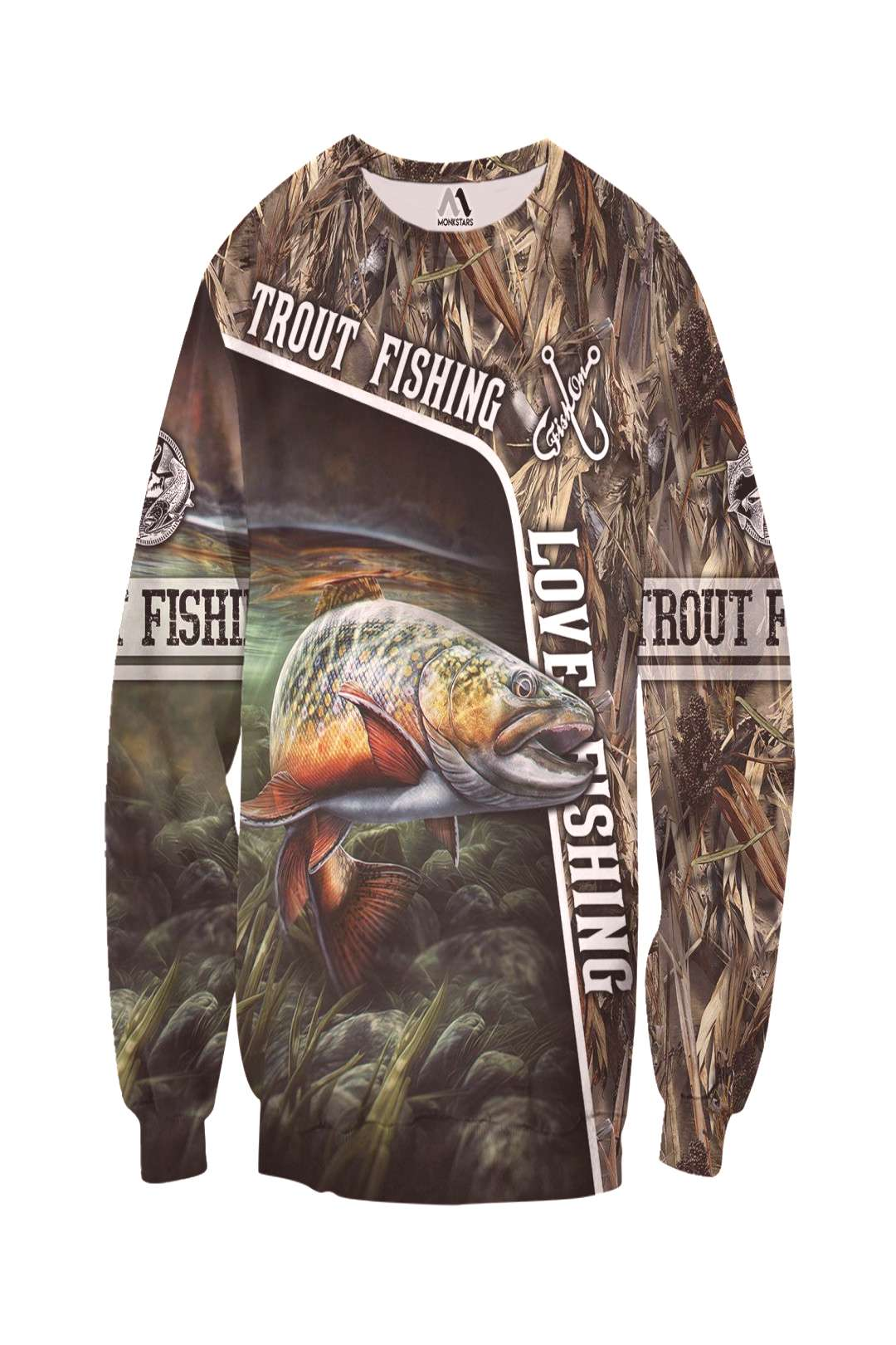 Trout Fishing Camo 3D All Over Printed Shirts - Monkstars In...-Trout Fishing Camo 3D All Over Prin