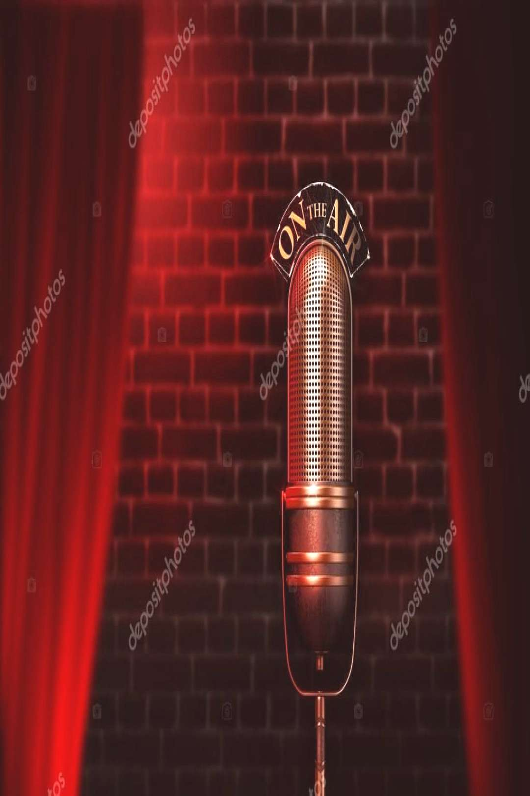 Vintage microphone on red cabaret stage - Stock Photo ,